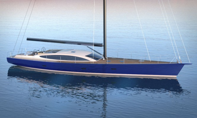 26m sailing yacht Sapphire Knight project signed by Adam Voorhees