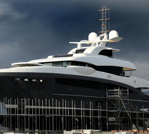 50m Heesen motor yacht SKY under refit at Monaco Marine's La Ciotat shipyard