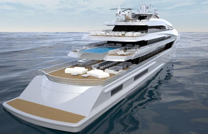 90 Nobiskrug motor yacht concept - aft view