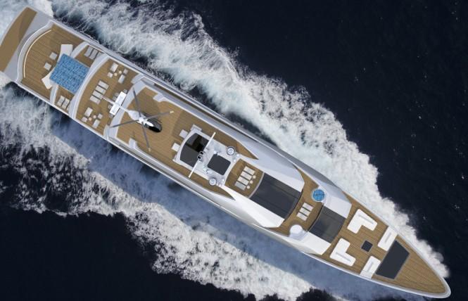 90m Nobiskrug mega yacht concept - top view