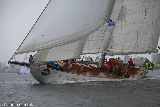 The elegant Brazilian Schooner, Atrevida is likely to be the oldest yacht competing at the St.Maarten Heineken Regatta and at 95ft one of the largest. Image by Claudio Cambria