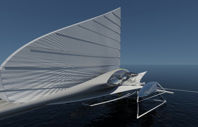 A futuristic solar-powered trimaran yacht by Architect Margot Krasojevic