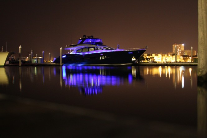 Algorythm yacht at night