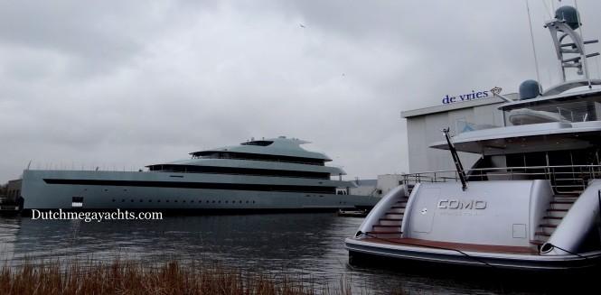 Feadship 686 mega yacht SAVANNAH and COMO superyacht at the Feadship's Royal van Lent facility in Aalsmeer, the Netherlands