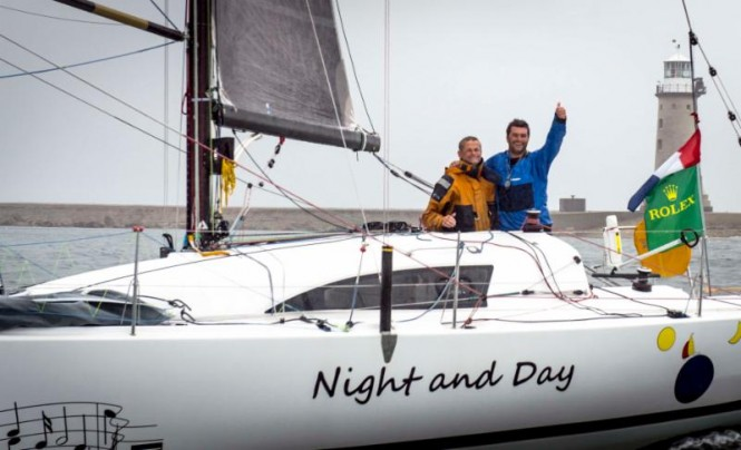 French father and son team of Pascal and Alexis Loison, became the first ever doublehanded crew to win the Fastnet Challenge Cup and the Rolex Fastnet Race overall in 2013. They will be back to defend their title this year.  Night and Day, JPK 10.10 © Rolex/Kurt Arrigo