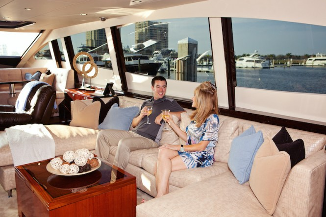 Interior of luxury charter yacht ALGORYTHM