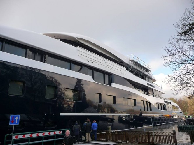 Launch of the 101m Feadship Hull 808 superyacht - Photo by Feadship Fan Club