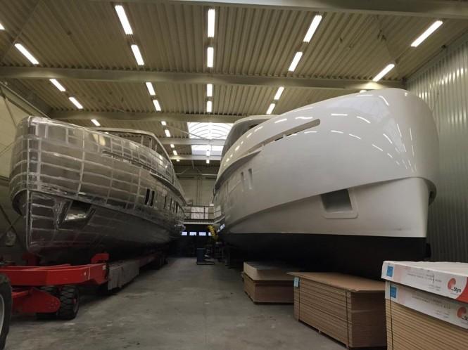 Luxury motor yacht S-78 at Storm Yachts alongside S-65 Yacht