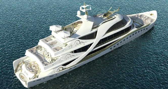 Luxury yacht LA BELLE from above