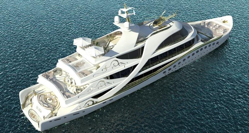 Luxury yacht LA BELLE from above