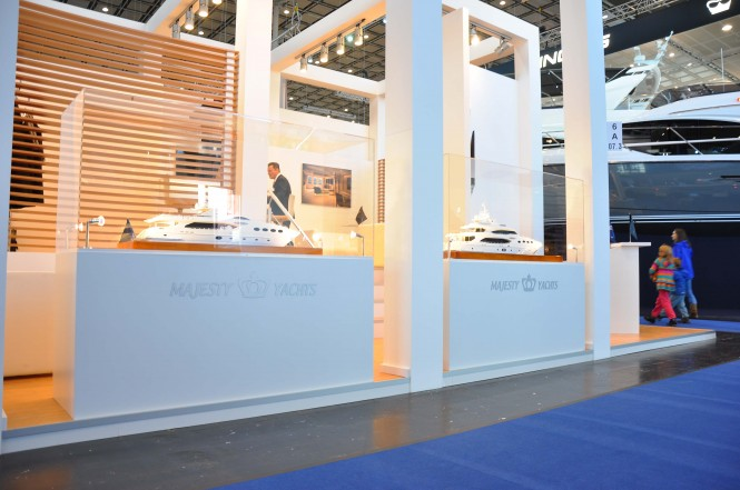 Majesty Yachts scale models on display at the Dusseldorf Boat Show 2014