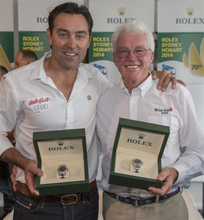 Mark Richards, skipper of Line Honours winner WILD OATS XI, and Roger Hickman, owner and skipper of Overall Winner WILD ROSE - Photo by Rolex Daniel Forster
