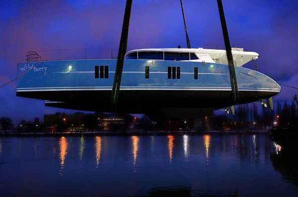 Sunreef 74 sailing yacht Wildberry at launch