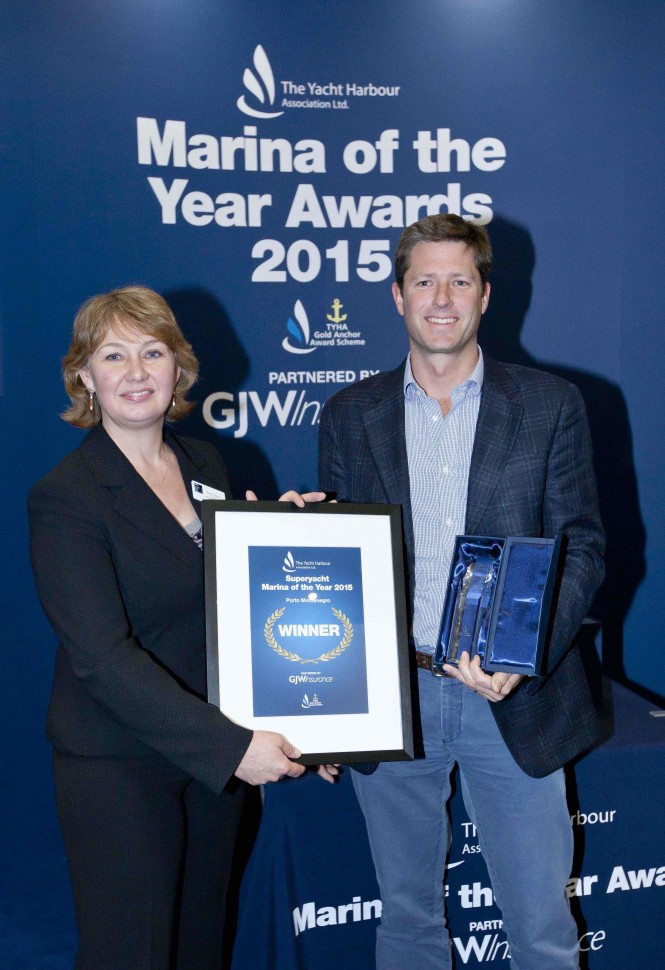 Tony Browne receives TYHA Superyacht Marina of the Year Award 2015 from Sarah Hanna Chair of TYHA - Image by onEdition 2015