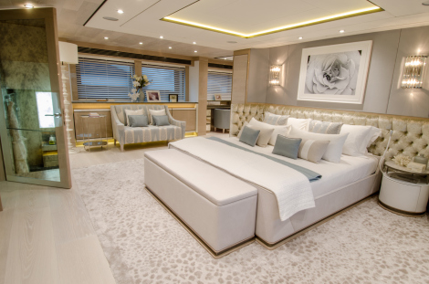 """""""THUMPER's"""" stunningly sumptuous Master Stateroom features luxurious bespoke upholstery, fabrics and an expansive sunken bathroom"""