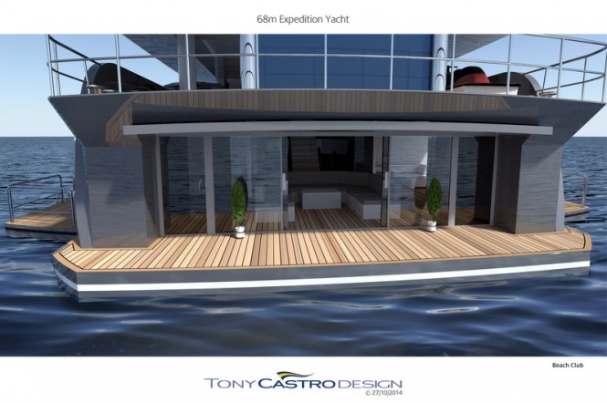 68m Tony Castro Luxury Yacht Concept - Beach Club