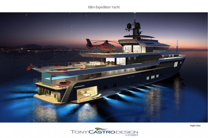 68m Tony Castro Motor Yacht Concept by night
