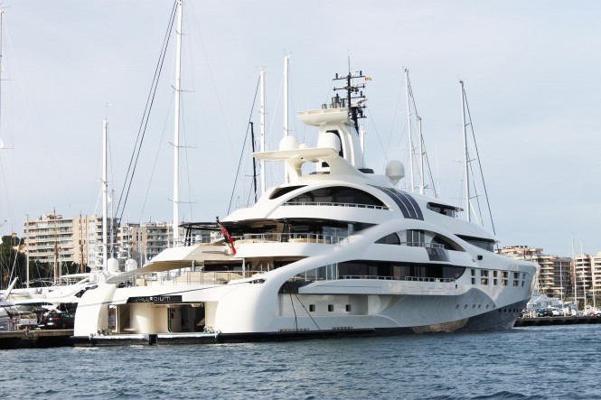 96m mega yacht Palladium by Blohm + Voss moored at Club de Mar Mallorca - a beautiful Mallorca yacht charter destination