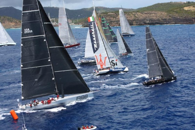 A spectacular start to the 2015 RORC Caribbean 600 in Antigua as IRC Zero and Canting Keel class, including George David's Rambler 88 and John Elkann's Volvo 70, Maserati cross the line ©Tim Wright/Photoaction.com