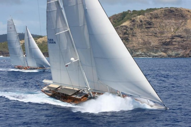 Adela and Athos, the two gigantic schooners racing in the Superyacht Class are enjoying a 'pistols at dawn'  multiple tacking duel - ©RORC/Tim Wright/Photoaction.com