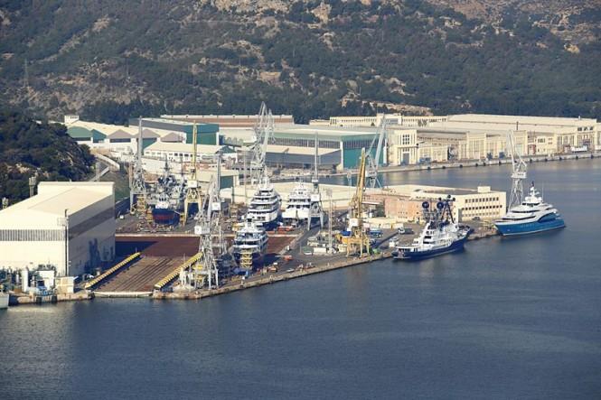 Aerial view of superyacht refit and repair shipyard Navantia S.A.