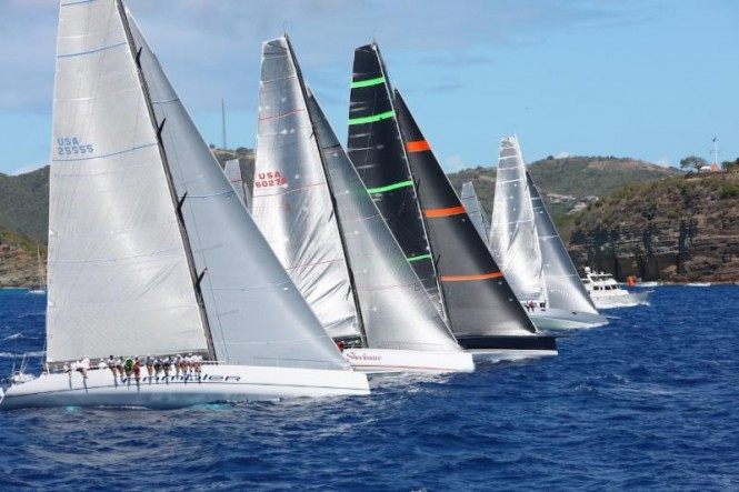 George David's superyacht Rambler 90 on the IRC Class 0 start line of last year's RORC Caribbean 600. Photo by Tim Wright photoaction.com