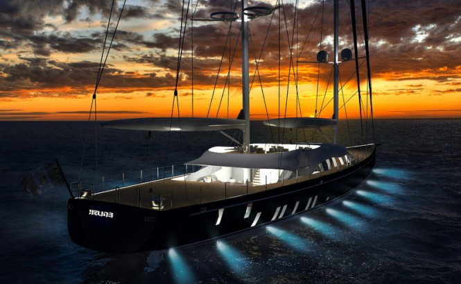 Helios Yacht Concept by night