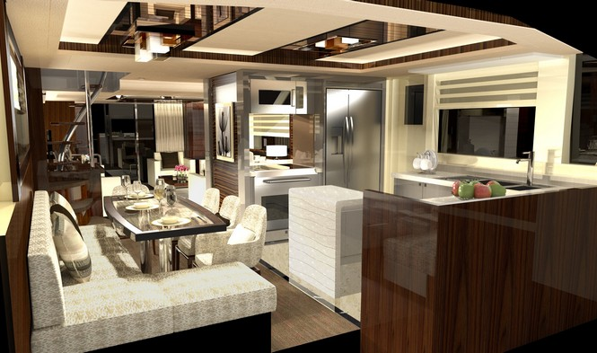 Horizon V80 Yacht - Galley and Dining