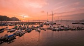 Langkawi harbor at sunset - Photo credit to Asia Pacific Superyachts