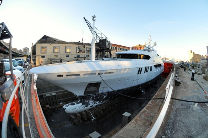 Luxury charter yacht Andreas L under refit at T. Mariotti Shipyard