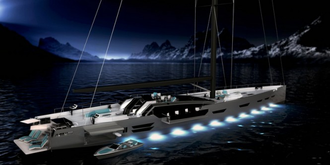 Luxury yacht Oceanaid concept by night