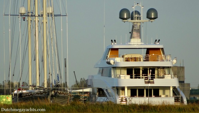 Mega yacht Mikhail S Vorontsov alongside Feadship superyacht ROCK.IT moored in Alaskahaven, the Netherlands