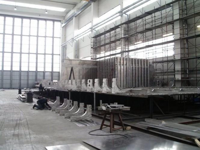 Motor yacht Hull FR031 by Rossinavi under construction