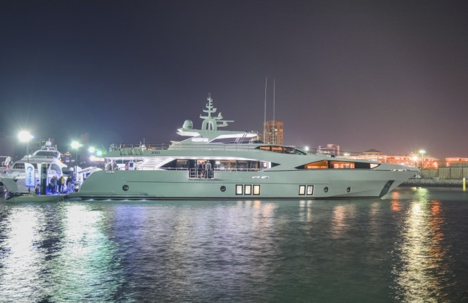Night shot of motor yacht Majesty 122 at the Kuwait Yacht Show 2015