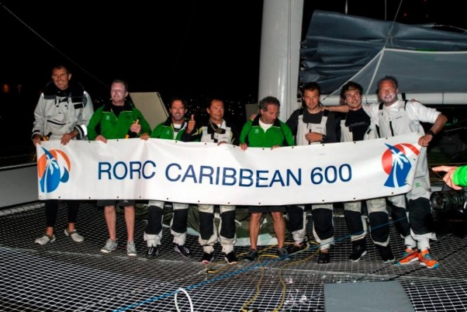 Phaedo^3, owner Lloyd Thornburg and crew celebrate on arrival after completing the 2015 RORC Caribbean 600 - © RORC/Ted Martin/photofantasy.zenfolio.com