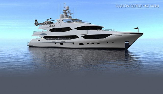 Rendering of the 43m Custom Series Yacht by Christensen Shipyards