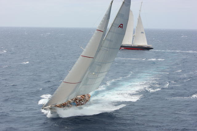 Sailing yacht Adela and charter yacht Athos, the mighty schooners battle it out in the last RORC Caribbean 600 © Tim Wright Photoaction.com
