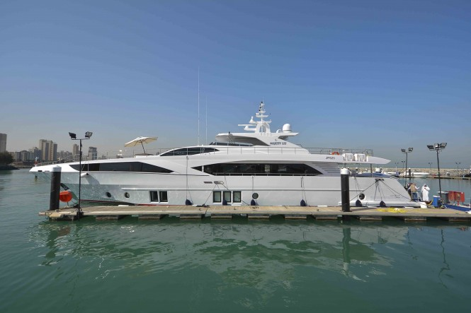 Super yacht Majesty 122 at the 2015 Kuwait Yacht Show