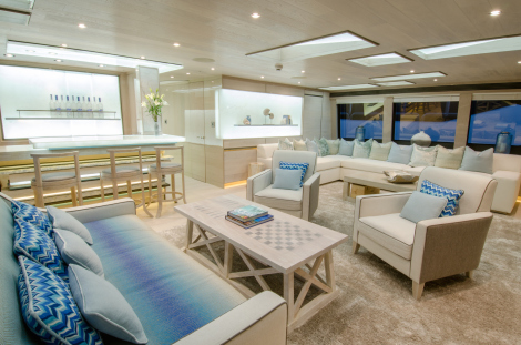 "The Beach Club feel continues through the Sky Deck of the 40 Metre Yacht ""THUMPER"""