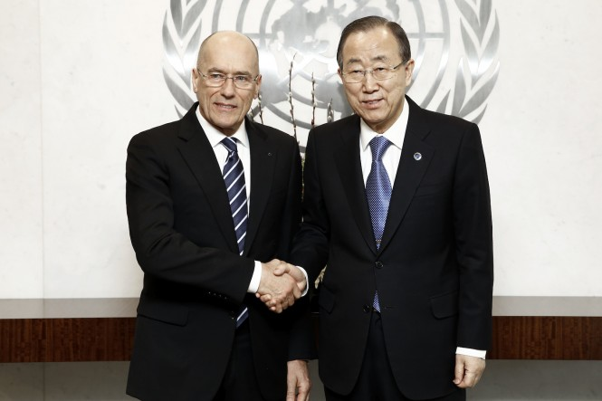 The Secretary-General with Mr. Igor Simcic (Founder, Esimit Europa Project) - Photo by UN Photo Evan Schneider