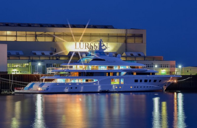 104m super yacht Quantum Blue by Lurssen at launch - Photo credit to Marcus Meyer