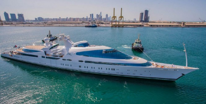 141m ADM mega yacht YAS with interior outfitting by Greenline Yacht Interiors