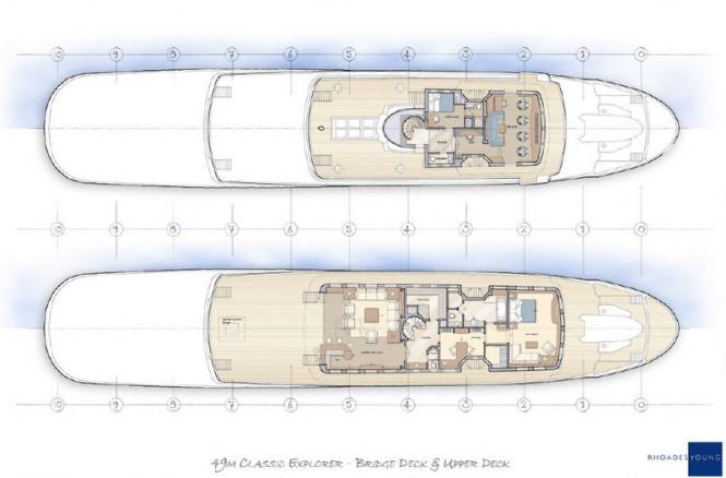 49m Rhoades Young Classic yacht concept - Bridge Deck & Upper Deck