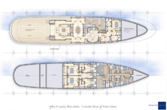 49m Rhoades Young luxury yacht concept - Lower Deck & Main Deck