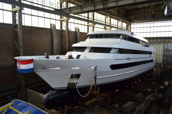 60m motor yacht Katina (hull 524) ready to be launched - Photo by Brodosplit