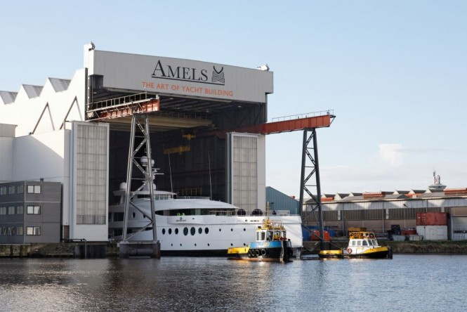 AMELS 199 super yacht MADAME KATE leaving her shed