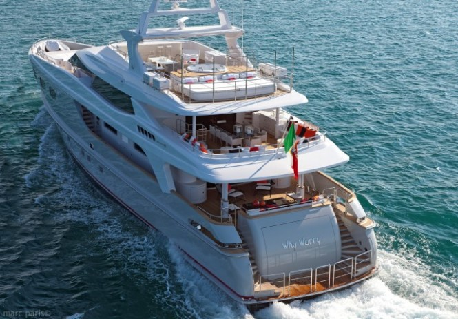 Baglietto 43 superyacht Why Worry with interior design by Saaranha&Vasconcelos