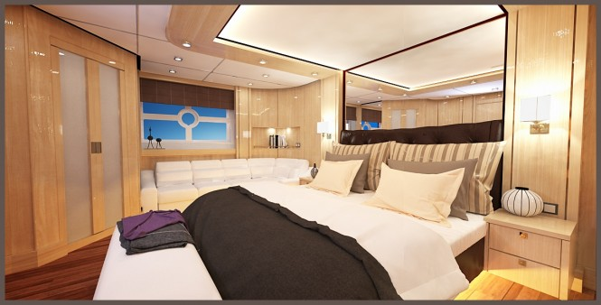 Bering 77 yacht design - Master Cabin