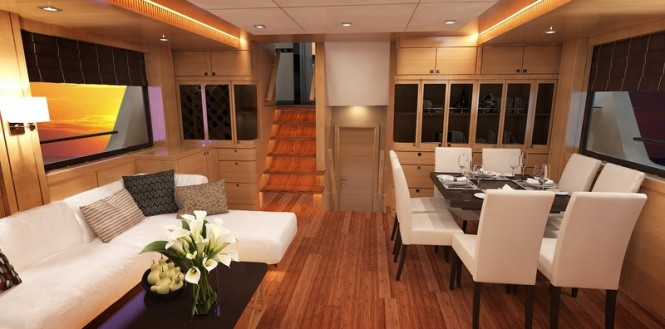 Bering 77 yacht design - Saloon and Dining