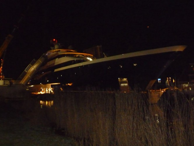 Bridge dismantled to give Symphony Yacht a passage - Photo credit to Feadship Fanclub